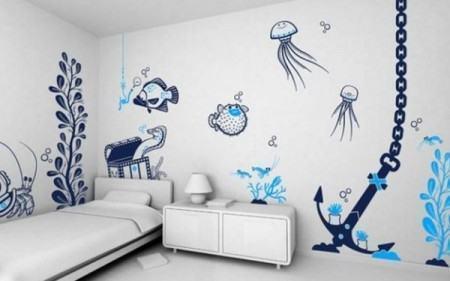 adesivo para quarto de adolescente 450x281 Conheça os Adesivos decorativos de parede mais legais, 2 Tutoriais para colar os adesivos