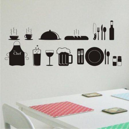 adesivos de parede para cozinha 450x450 Conheça os Adesivos decorativos de parede mais legais, 2 Tutoriais para colar os adesivos