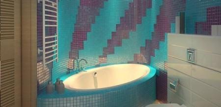 banheira revestida com pastilhas 450x218 Pastilhas para banheiro decorativas ideais revestir as paredes