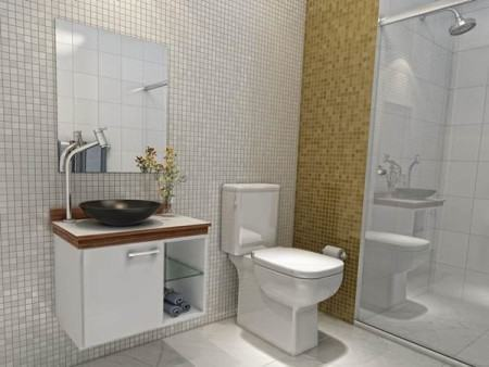 banheiro decorado parede com pastilhas 450x338 Pastilhas para banheiro decorativas ideais revestir as paredes
