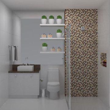 banheiro simples com pastilha Pastilhas para banheiro decorativas ideais revestir as paredes