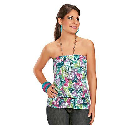 blusa estampada tomara que caia em helanca Blusinhas femininas estampadas: Ombro vazado, manga longa, regatinha, tomara que caia