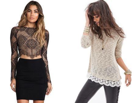 blusas de renda com saias ou calca 450x338 Lindas Blusas femininas com renda pra usar com calça ou saia, veja looks