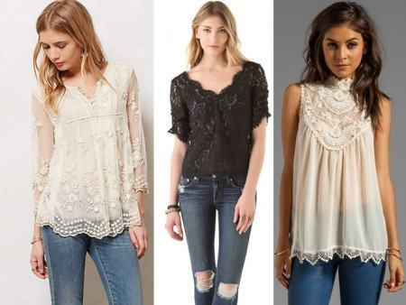 blusas de renda delicadas 450x338 Lindas Blusas femininas com renda pra usar com calça ou saia, veja looks
