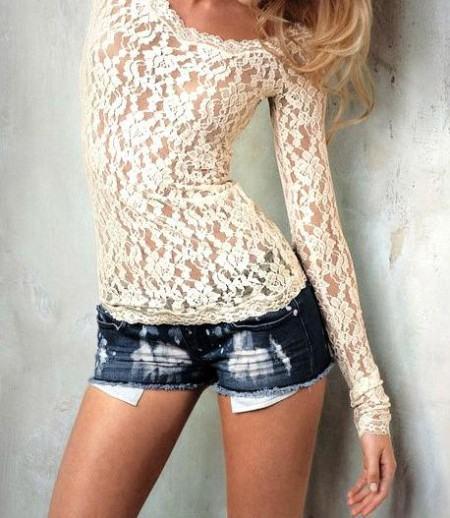 blusas de renda manga longa 450x518 Lindas Blusas femininas com renda pra usar com calça ou saia, veja looks