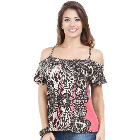 blusas ombro vazado Blusinhas femininas estampadas: Ombro vazado, manga longa, regatinha, tomara que caia