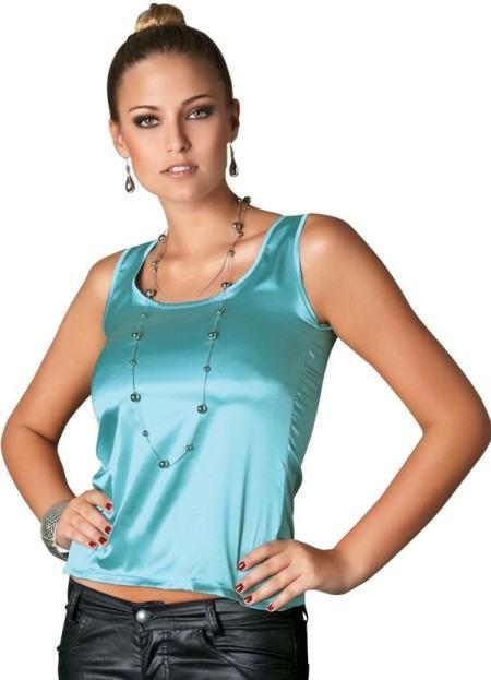 blusinha regatinha azul em cetim