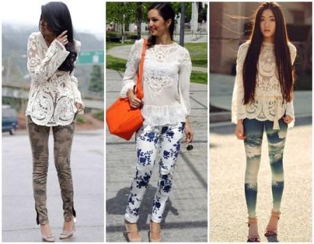 blusinhas de renda com calca com estampas 450x350 Lindas Blusas femininas com renda pra usar com calça ou saia, veja looks