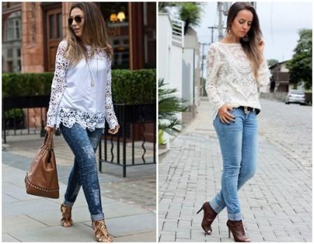 blusinhas de renda com calca da moda 450x350 Lindas Blusas femininas com renda pra usar com calça ou saia, veja looks