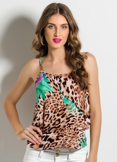 blusinhas estampadas animal print e babados 450x623 Blusinhas femininas estampadas: Ombro vazado, manga longa, regatinha, tomara que caia