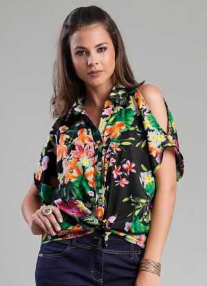 blusinhas estampadas com fotos Blusinhas femininas estampadas: Ombro vazado, manga longa, regatinha, tomara que caia