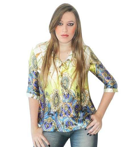 blusinhas estampadas de botao 450x515 Blusinhas femininas estampadas: Ombro vazado, manga longa, regatinha, tomara que caia