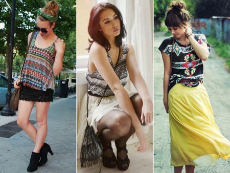 blusinhas estampadas etnicas moda jovem 450x338 Blusinhas femininas estampadas: Ombro vazado, manga longa, regatinha, tomara que caia