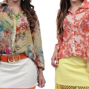 blusinhas estampadas florais com saia curta Blusinhas femininas estampadas: Ombro vazado, manga longa, regatinha, tomara que caia
