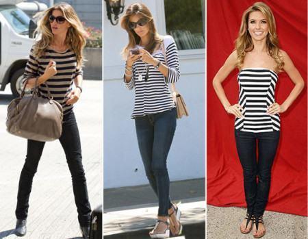 blusinhas estampadas listradas com calca 450x349 Blusinhas femininas estampadas: Ombro vazado, manga longa, regatinha, tomara que caia