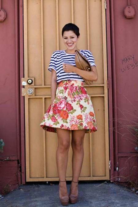 blusinhas estampadas listradas foto 450x675 Blusinhas femininas estampadas: Ombro vazado, manga longa, regatinha, tomara que caia