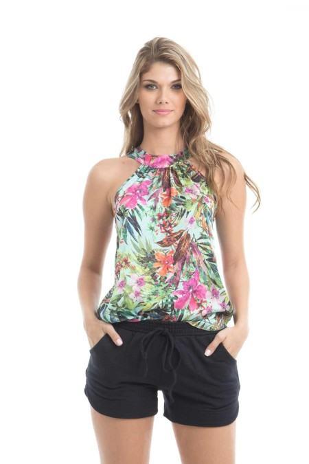 blusinhas femininas de cetim da moda floral 450x675 AS BLUSINHAS FEMININAS DE VERÃO em suas estampas e modelitos estilosos