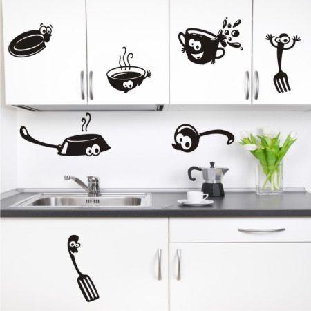 decorando a cozinha com adesivos 450x450 Conheça os Adesivos decorativos de parede mais legais, 2 Tutoriais para colar os adesivos