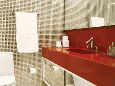 fotos pastilhas no banheiro 450x338 Pastilhas para banheiro decorativas ideais revestir as paredes