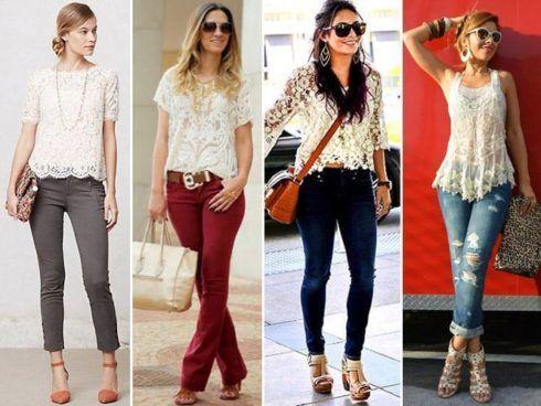 imagem 18 490x368 Lindas Blusas femininas com renda pra usar com calça ou saia, veja looks