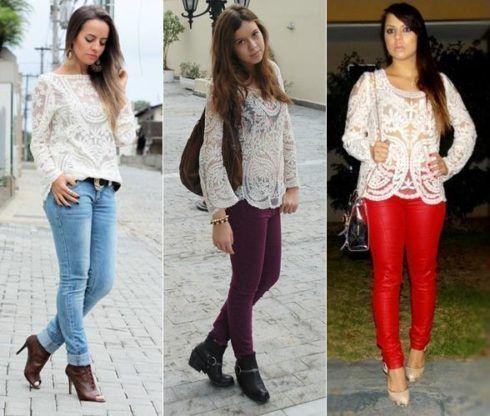 imagem 20 1 490x416 Lindas Blusas femininas com renda pra usar com calça ou saia, veja looks