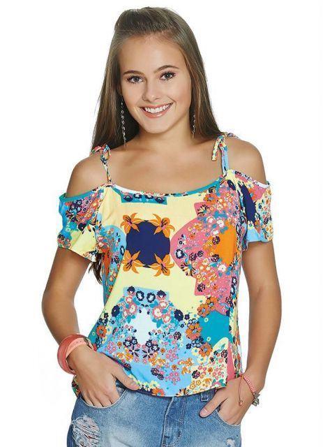 imagem 4 Blusinhas femininas estampadas: Ombro vazado, manga longa, regatinha, tomara que caia