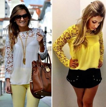 looks para sair com blusinhas de renda 450x453 Lindas Blusas femininas com renda pra usar com calça ou saia, veja looks