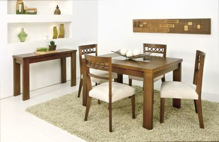 mesa de jantar 4 cadeiras retangular com cadeiras estampadas e aparador 450x293 Tipos de MESAS DE 4 CADEIRAS para jantar em família