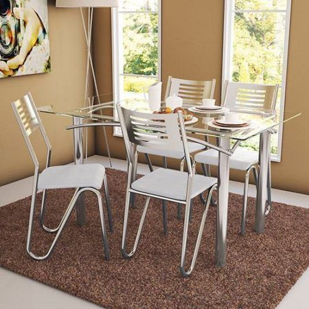 mesa de jantar 4 cadeiras retangular de aço