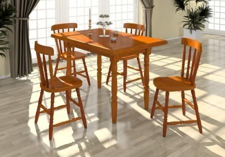 mesa de jantar 4 cadeiras retangular de madeira 450x315 Tipos de MESAS DE 4 CADEIRAS para jantar em família