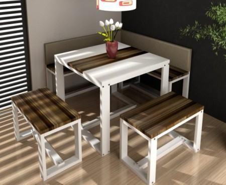 mesa de jantar de canto 4 lugares para cozinha 450x367 Tipos de MESAS DE 4 CADEIRAS para jantar em família