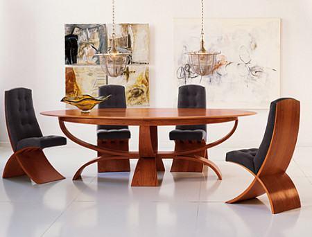mesa de jantar oval 4 lugares estofadas 450x342 Tipos de MESAS DE 4 CADEIRAS para jantar em família