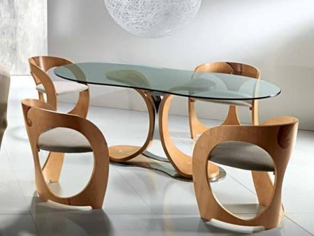 mesa de jantar oval 4 lugares ultra moderna 450x338 Tipos de MESAS DE 4 CADEIRAS para jantar em família