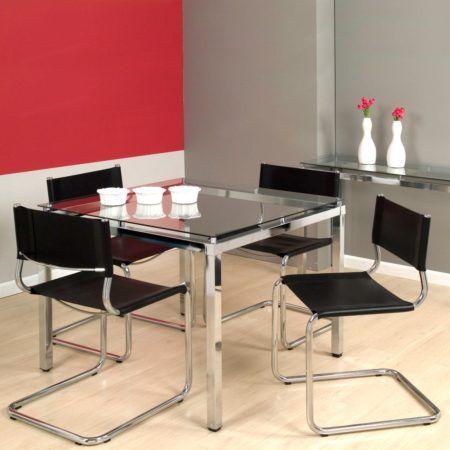 mesa de jantar quadrada 4 lugares em inox linda 450x450 Tipos de MESAS DE 4 CADEIRAS para jantar em família