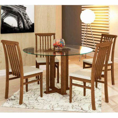 mesa de jantar redonda 4 lugares para sala de jantar 450x450 Tipos de MESAS DE 4 CADEIRAS para jantar em família