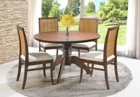 mesa de jantar redonda com 4 cadeiras 450x313 Tipos de MESAS DE 4 CADEIRAS para jantar em família