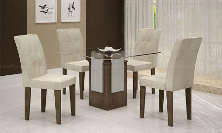 mesas de jantar com 4 cadeiras com tampo de vidro
