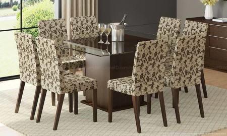 mesas de jantar com 8 cadeiras com cadeiras estampadas