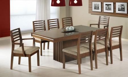 mesas de jantar com 8 cadeiras em madeira