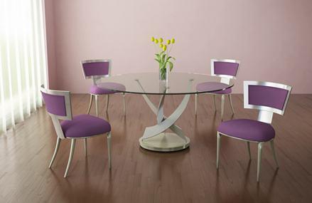 mesas de jantar redondas com tampo de vidro
