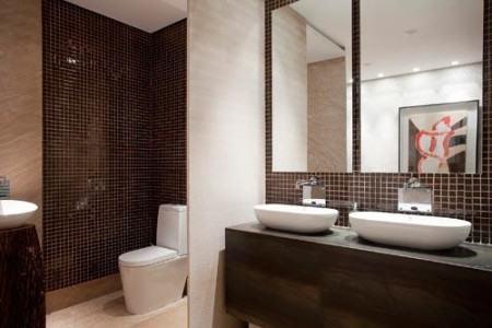 pastilha marrom de banheiro 450x300 Pastilhas para banheiro decorativas ideais revestir as paredes