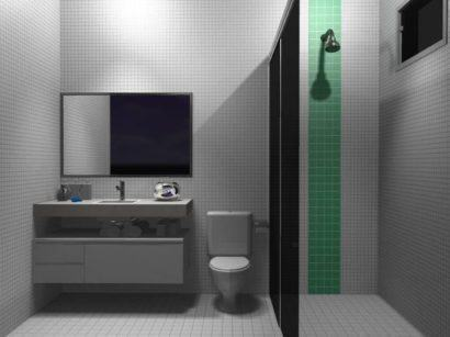 banheiro simples com pastilha verde