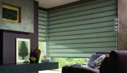 cortina persiana para sala moderna 410x237 Tipos de CORTINA PARA SALA DE ESTAR, Persianas, Varão e muito mais