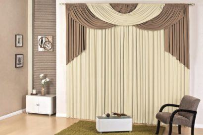 cortina varao para sala com band%C3%B4 410x273 Tipos de CORTINA PARA SALA DE ESTAR, Persianas, Varão e muito mais