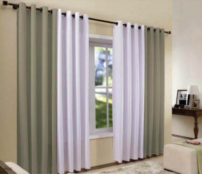 cortina varao para sala de duas cores 410x352 Tipos de CORTINA PARA SALA DE ESTAR, Persianas, Varão e muito mais