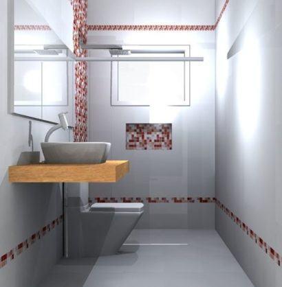 detalhes de pastilha vermelha no banheiro