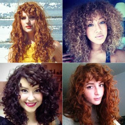 franjas com cachos cabelos