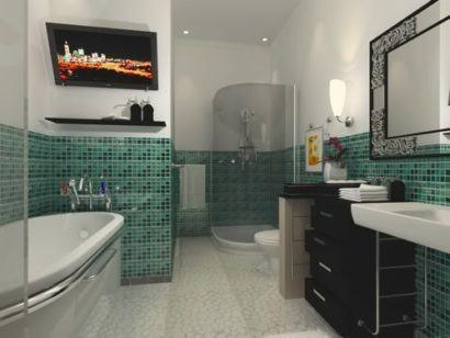 paredes com pastilhas no banheiro