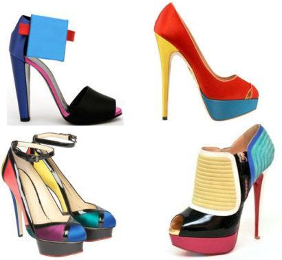 sapatos color blocking 410x379 SAPATOS FEMININOS DA MODA : Os modelitos e cores