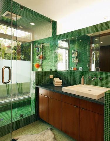 verde no banheiro em pastilhas